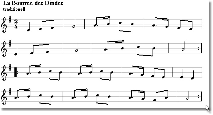 Musical score for Bouree Des Dindes