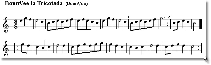 Musical score for Bouree La Tricotada
