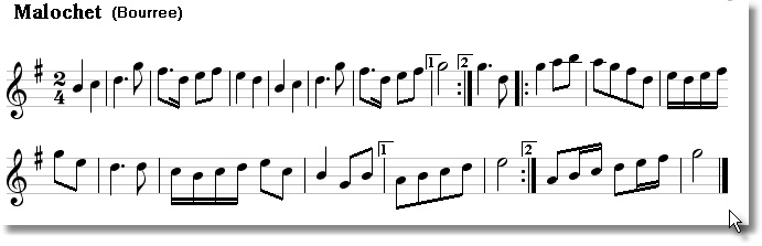 Musical score for Bouree Malochet