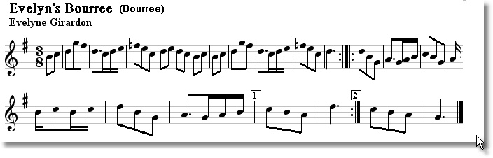 Musical score for Evelyns