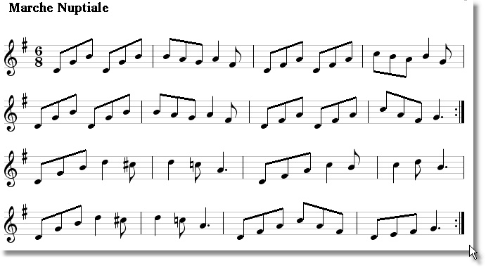 Musical score for March Nuptiale