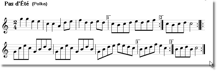 Musical score for Polka Pas D'Ete